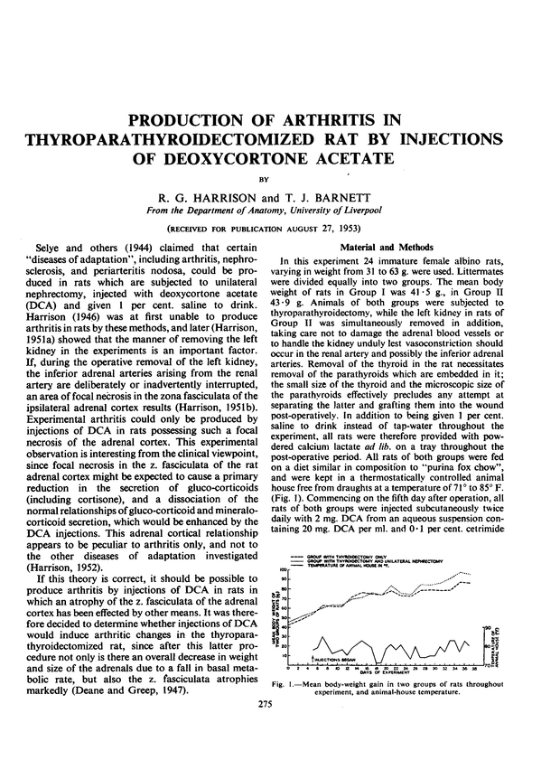 Production Of Arthritis In Thyroparathyroidectomized Rat By