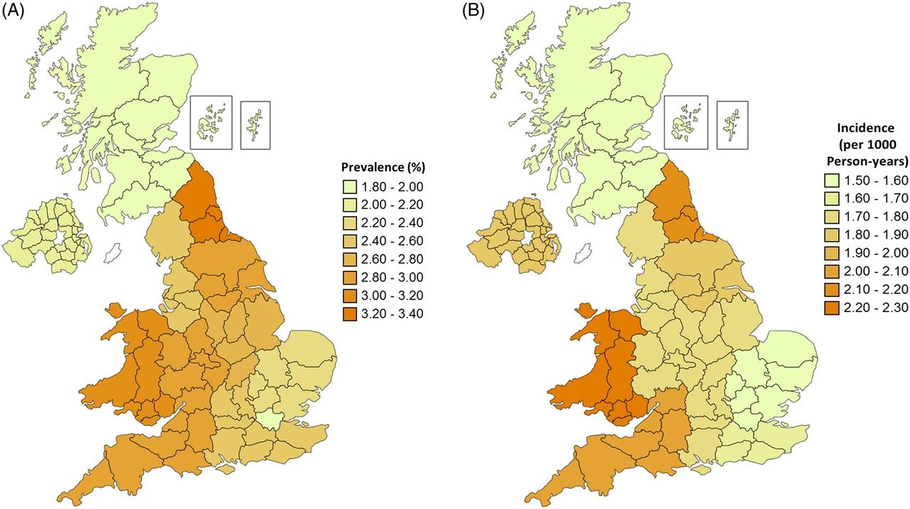 Rising Burden Of Gout In The UK But Continuing Suboptimal - Gout prevalence map us